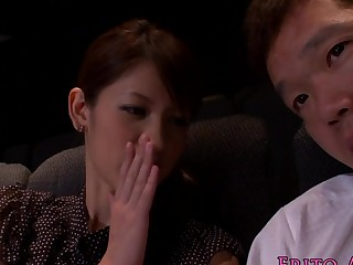 Japanese cutie tugging and sucking surrounding cinema