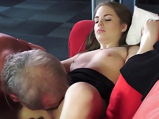 Old Young Porn Evanescent Girl Fucked Bald Grandpa at hand pussy
