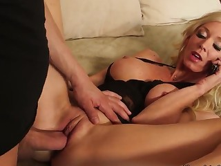 Appetite blonde milf was having a phone sex when her son's best band together came