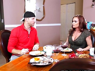 Spectacular MILF Diamond Foxxx having rough sex in a cookhouse