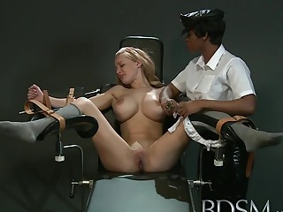 Slave girl with stupendous breasts gets it hard with forced orgasm from angry Mistress