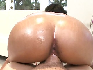 Black-skinned peach with chubby butt gets fucked everlasting off out of one's mind washed out dude