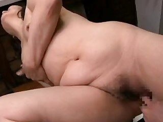 Old coupled with horny Japanese of age bitch finger fucked