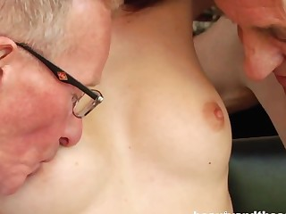 Teen honey take two old dicks