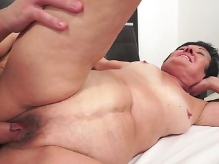 A fat ma feels a big hard dick in the brush fat saggy body