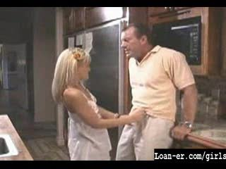 Hawt Blondle Legal age teenager gives great handjob in kitchen