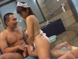 Busty maid fucked in baths tab