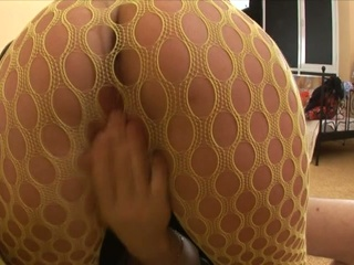 Fishnet brunette sloppy boob blowjob