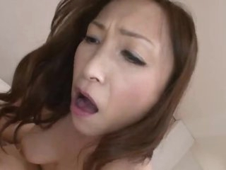 Japanese milf rides until become absent-minded babe receives creampie