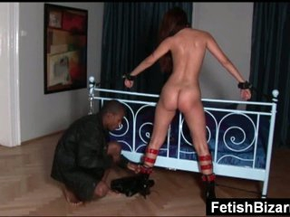 Slave receives fucked by black master