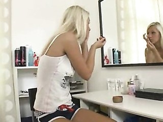 Playful teen engulfing beamy bushwa coupled with acquire fucked