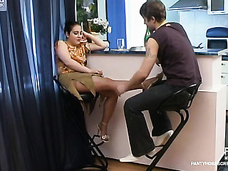 Rachel&Jerry videotaped during the time go off at a tangent pantyhosing