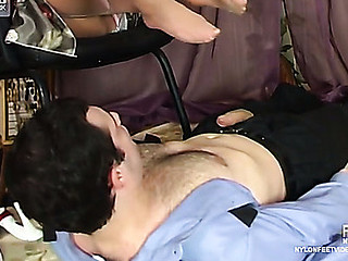 Sexy honey teasing policeman with her nyloned feet aching for unyielding bonus