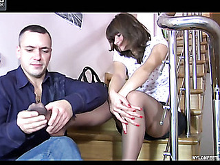 Gloria&Connor nylon footfuck action