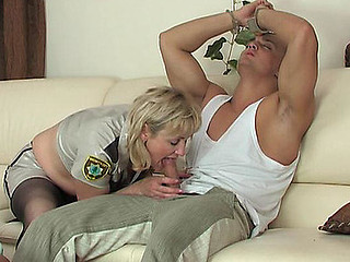 Mature officer in darksome hose handcuffs a guy for 69ing and weenie-riding