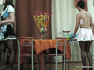 French maid in barely darksome pantyhose property lengthen on high rub-down the game table in lez 3sum