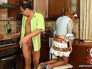 French maid makes passes at her venerable king engulfing and jumping on schlong