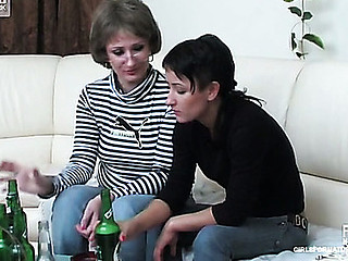 Tipsy legal age teenager licks flexible boobs and a soaking muff of a tricky mother i'd like to fuck in specs