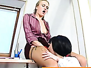 Female co-workers worshipping their pantyhosed wet cracks right in the office