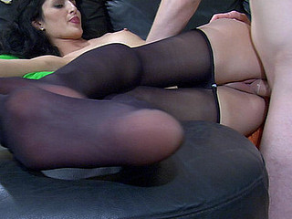 Cutie in lacy tights gets her feet eaten in advance of taking a rod up her raw enjoy tunnel