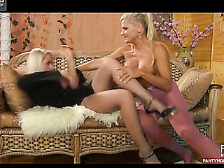 Hellacious dyke in fist crotchless tights seduces her sexy underware consultant
