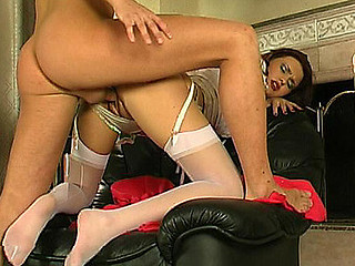Cutie in white nylons getting the almost all from irrumation foreplay in advance of fucking