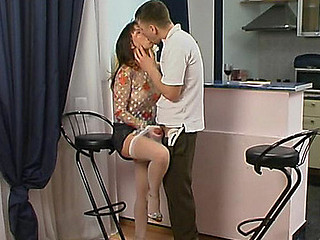 Randy unsubtle in lacy white nylons ready to jump on palpitating penis non-stop