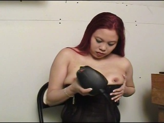 Lewd asian doxy using powertool to pleasure wet fur pie