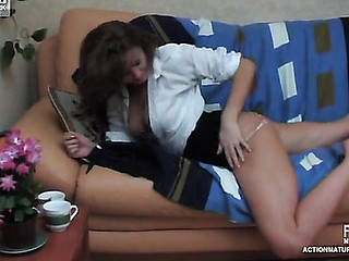 Sleepy older chick getting gangbanged from all around by filthy younger guy
