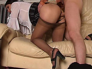 Lascivious chick savoring fervent muff massage with her silky hose on