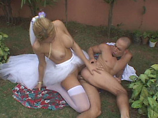 Outdoor backdoor fucking with raunchy tgirl bride and her horny groom