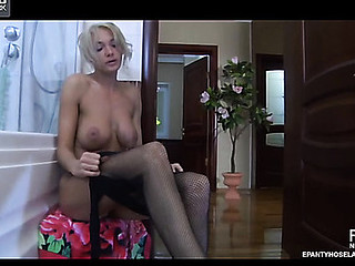 Bigtitted playgirl lathers and washes her soft tights enjoying their wet feel