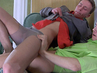 Pantyhose loving guys give nylon footjob and oral-stimulation job in advance of anal in tights