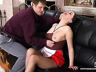 French maid approximately control top tights provokes a guy secure sheer nylon insanity