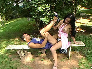 Well-hung shelady revealing a sheer thrill for crazy chap right outdoors