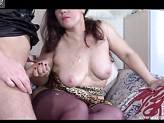 Crummy mother i'd like to fuck in violet stockings stuffing her box previous to from-behind frenzy