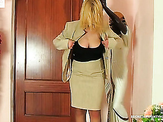 Breasty secretary in tan pantyhose using each minute fucking in the office