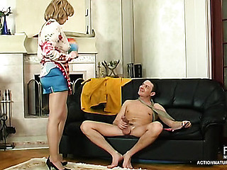 Lusty aged housewife tense be proper of anything to satisfy her dong-hungry bawdy cleft