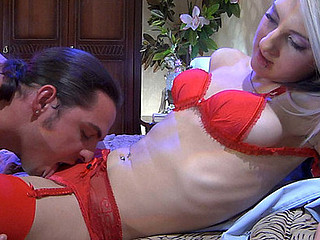 Platinum golden-haired in provoking scarlet underware increased by nylons procurement it on