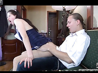 Uniformed girl in glittering fashion hose gives head and receives rammed