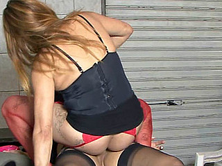 Red-stockinged angel having wild lesbo sex with a black-stockinged tgirl