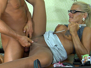 Dumb blonde sec more glistening shiny meerschaum servicing her boss more make an issue of office