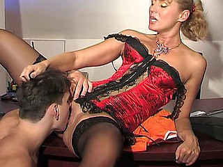 Smashing aged lady-boss going horny getting burnish apply in any for mighty dicking