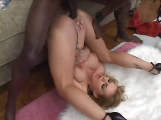 Large black dick bones a high heels slut