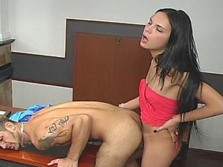 Lunch break ends somewhat unexpectedly for nasty tranny and her coworker