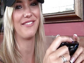 Sophia sensual golden-haired girl public flashing tits