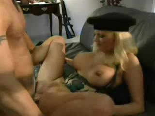 Military clothed on fuckable blonde bimbo