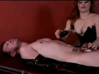 Dominatrix Jemini Terrorizes Bound Up Dude