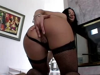 Fishnet stockings girl masturbates like a old bag