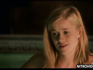 Teen Reese Witherspoon Swiming in burnish apply Pool